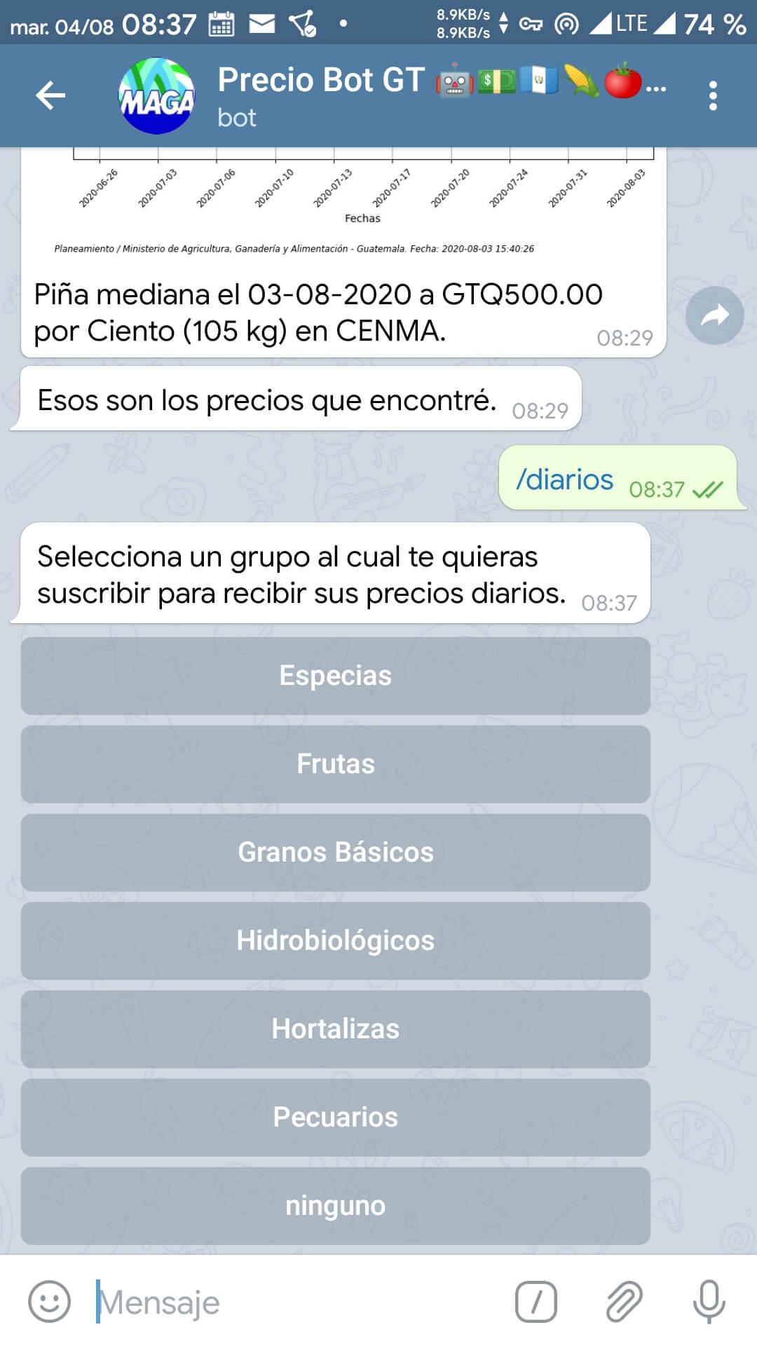Usando el comando /diarios en Telegram (2)