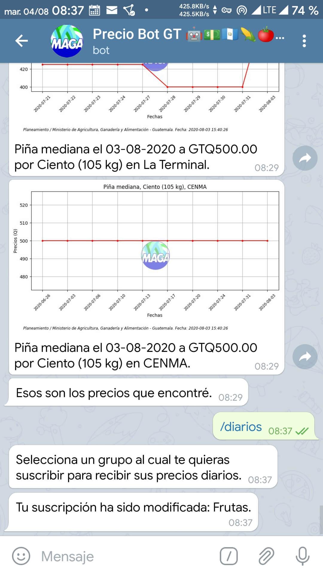 Usando el comando /diarios en Telegram (3)