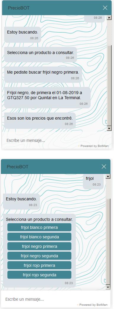 Chatbot de precios en Web